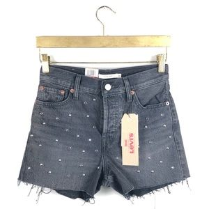 NWT Levi's • Charcoal Wedgie Denim Studded Shorts.